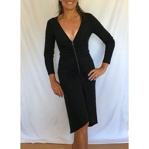 Celine - Deep V Neck Ruched Front zip Dress